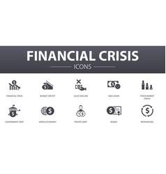 Financial crisis simple concept icons set vector