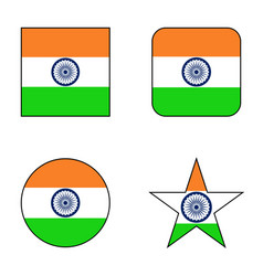 flag of india icon set vector image