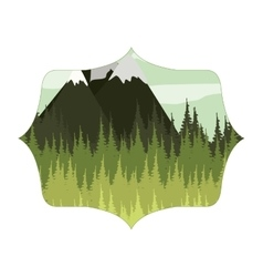 Frame with forest and Snowy Mountains vector