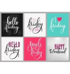 Friday Weekend lettering postcard set vector