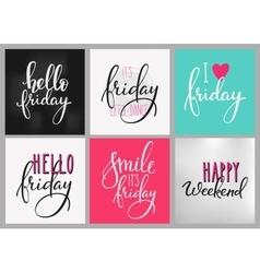Friday Weekend lettering postcard set vector image