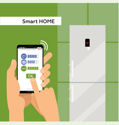 fridge operated via smartphone with wi-fi vector image