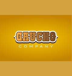 Gaucho western style word text logo design icon vector