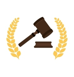 Gavel judge isolated icon vector
