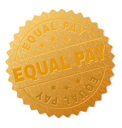 Gold equal pay medal stamp vector