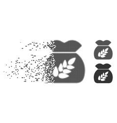 Grain harvest sack dissipated pixel halftone icon vector