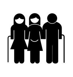 Grandparents couple and mother pregnancy avatars vector