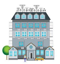 Gray house with a decor vector