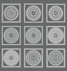 Greek seamless patterns textures gray background vector image