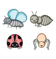 group insects kawaii characters vector image