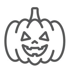 halloween pumpkin line icon autumn vector image