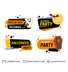 halloween set of badges with editable copy space vector image