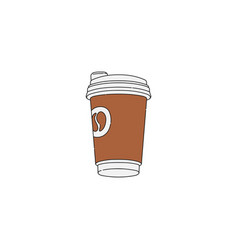 hand drawn brown coffee cup isolated on white vector image
