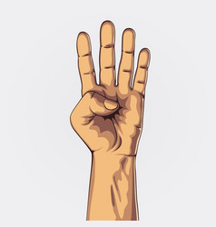 hand showing four count vector image