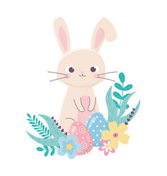 happy easter cute rabbit and eggs flowers foliage vector image
