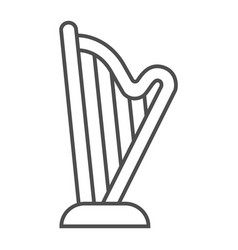 Harp thin line icon music and ancient instrument vector