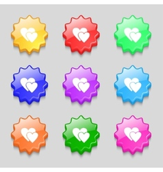 Heart sign icon Love symbol Set colur buttons vector image