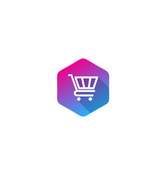 Hexagon shopping logo icon design vector