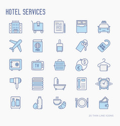 hotel services thin line icons set vector image