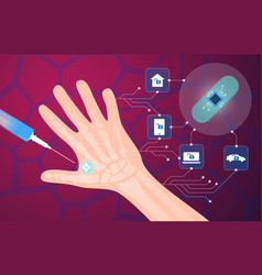 Human microchip implant in hand vector