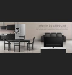 Interior mockup of studio apartment vector