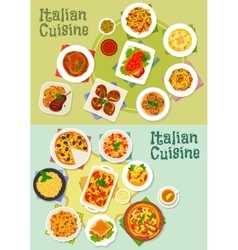 Italian cuisine pasta and pizza dishes icon vector image