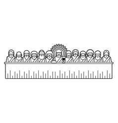 jesus and twelve disciples last supper cartoon vector image
