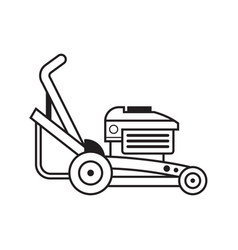 Lawn mower grass cutter line art icon vector