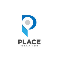 Letter p place logo design template vector