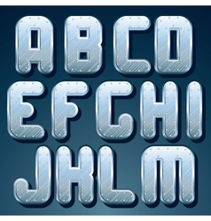 Metallic Font Set of Shiny Silver Letters vector