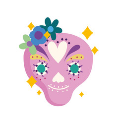 mexican decoration skull with flowers mexico vector image