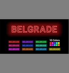 neon name of belgrade city vector image