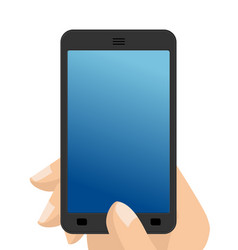 photo on smartphone hand holding screen phone vector image