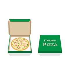 pizza in opened and closed box on white vector image