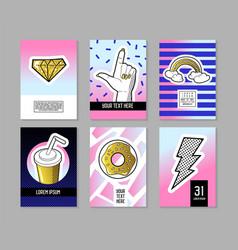 pop art retro style posters set trendy banners vector image