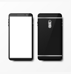 Realistic 3d black smartphone mockup front and vector