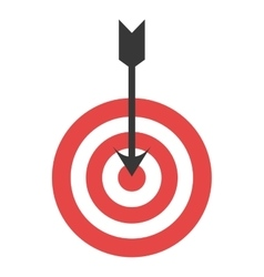 Red and white target with arrow vector