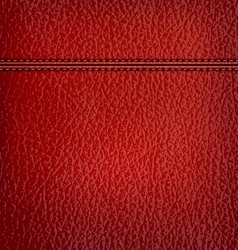 Red leather background with red leather strip vector image