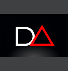 Red white alphabet letter da d a combination for vector