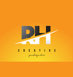 Rh r h letter modern logo design with yellow vector
