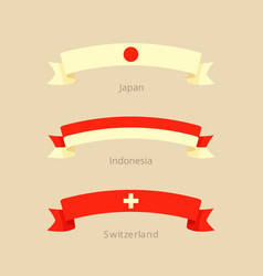 Ribbon with flag japan indonesia switzerland vector