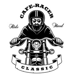 rider on motorcycle with beard on white background vector image