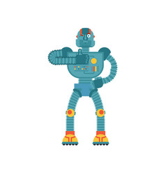 robot thumbs up and winks cyborg happy emoji vector image