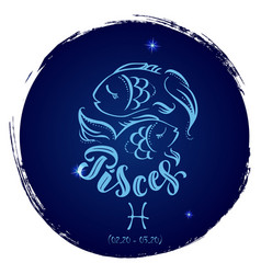 Round zodiac sign pisces vector