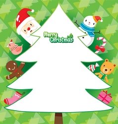 Santa And Christmas Tree On Green Background vector
