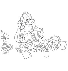 Santa claus reading letters vector