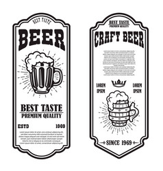 set beer flyers with beer mug design element vector image