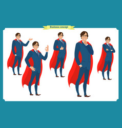 set of business character in suit vector image