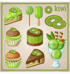 Set of sweets with kiwi vector