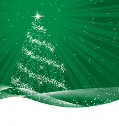 shiny green christmas tree vector image